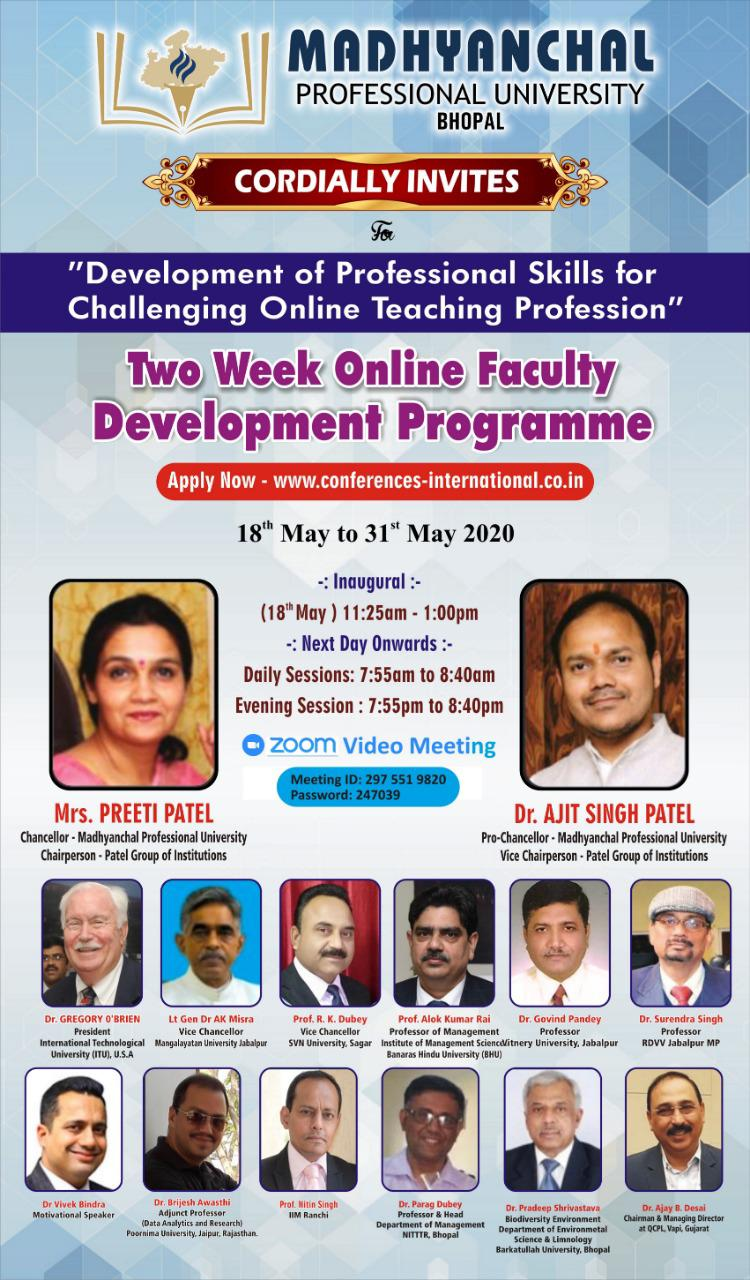 "Faculty Development Program On ""Development Of Professional Skills For Challenging Online Teaching Profession"" Date:  18th May – 31st May 2020"